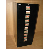 BLACK 10 DRAW FILING CABINET