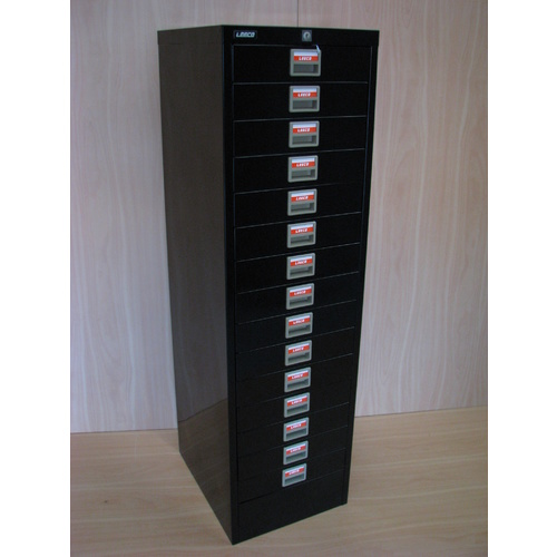 BLACK 15 DRAW FILING CABINET